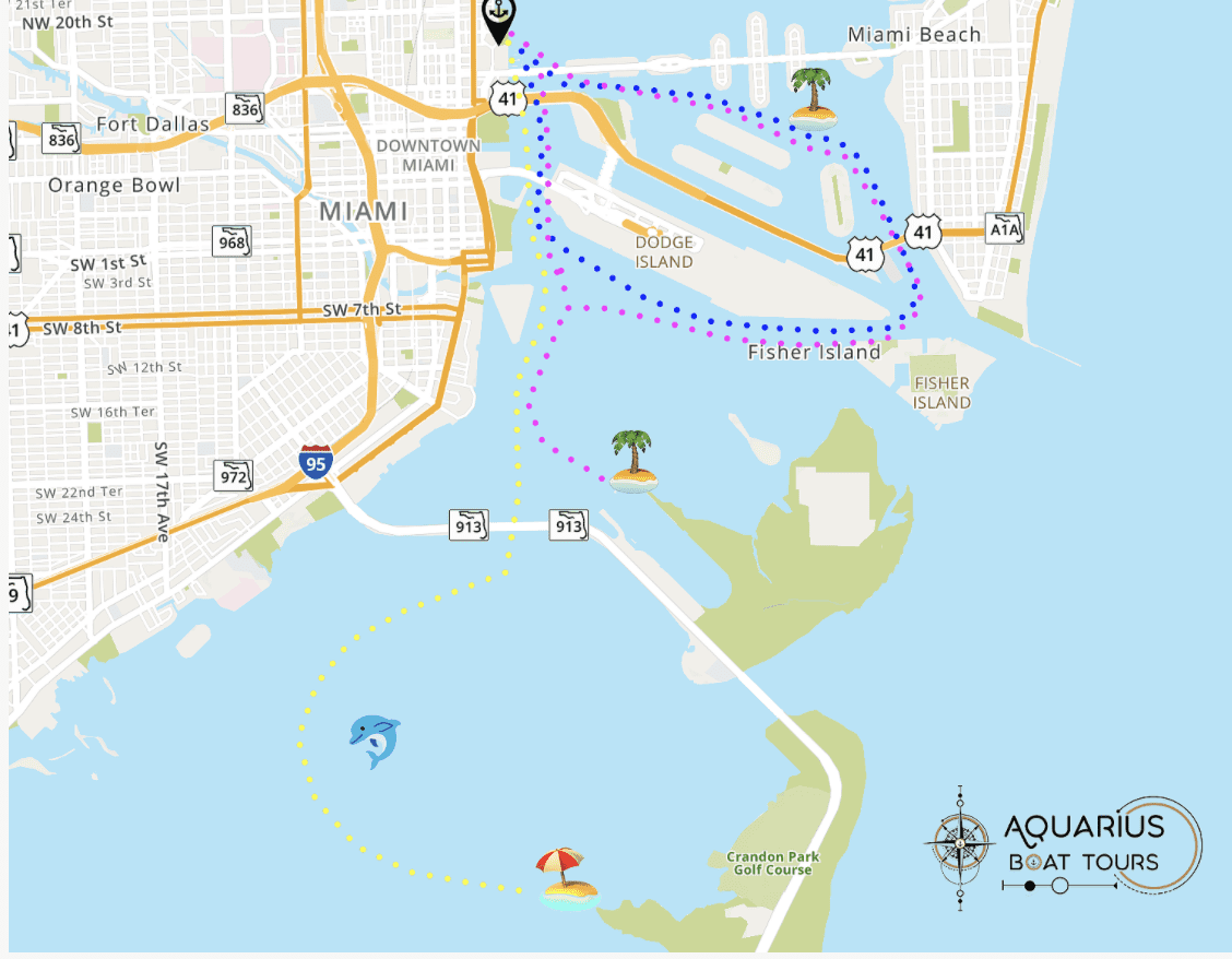 Boat tours miami [possible routes with aquarius boat tours